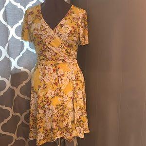 Flowery v neck dress